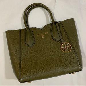 Michael Kors green leather gold satchel purse